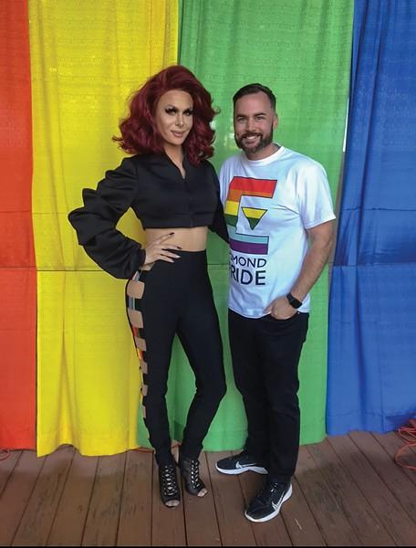Edmond Pride 2018 headliner Trinity Taylor poses with event chair John Stephens. - PROVIDED