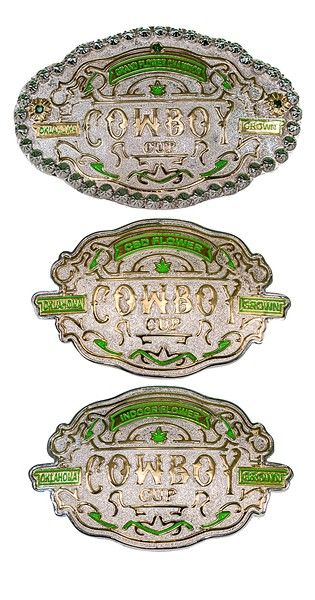Winners at Cowboy Cup do not receive cups; they receive customized belt buckles. - PROVIDED