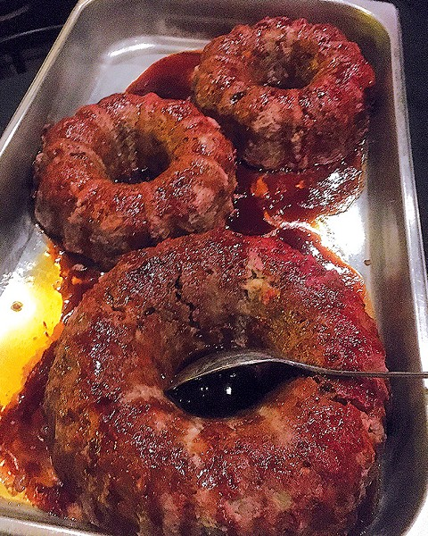 Meatloaf cooked in a Bundt pan by David Egan of Cattlemen's Steakhouse - JACOB THREADGILL