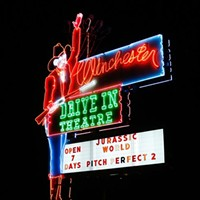 Neon sign at the Winchester Drive In Theatre in Oklahoma City, Monday, June 22, 2015.