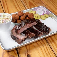 Rib dinner with fried okra and coleslaw at Texlahoma BBQ in Edmond, Tuesday, Dec. 13, 2016.