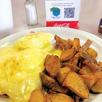 As a Wednesday special, the eggs Benedict with a drink and a side of home fries only costs $5.95.