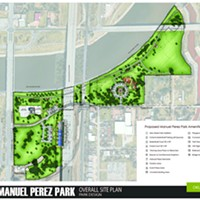 Proposed improvements to the new Manuel Perez Park along the Oklahoma River will include a memorial, a skate and BMX park, basketball courts and a soccer futsal.