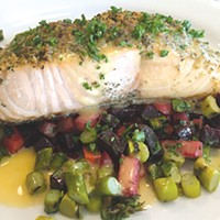 Salmon with herbs de Provence and panko crust, red flannel hash, asparagus and yellow tomato butter will be on the menu full-time in late February or early March.