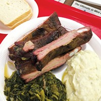 """A rib dinner at George's Happy Hog Bar-B-Q with """"marvelous"""" mixed greens and """"perfect"""" potato salad"""