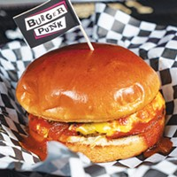 Burger Punk's Theta burger substitutes hickory sauce for Evil Barbecue Sauce.