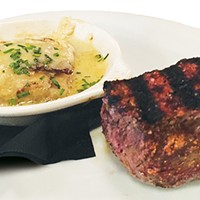 Lunch sirloin with dauphinois potatoes