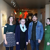 Momentum emerging curator Madison Moody second from left with spotlight artists from left Emma Difani, Daniel Helm and Spencer Plumlee