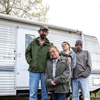 from right John, Shasta, Cathy, Wade and Jay Jay stand outside their trailer home in Oklahoma City on April 17. Conner, a Curbside vendor, had hoped to secure a two-bedroom home with the help of a Section 8 voucher but was held up due to the spread of COVID-19.