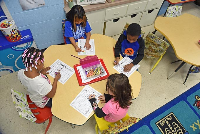 Students in Ms. Susan Paz's, class of Kindergarten/1st graders, at Possitive Tomorrows school.  mh