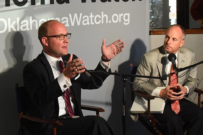 Oklahoma House Minority Leader Scott Inman, left, and House Speaker Jeff Hickman take part in a Oklahoma Watch forum at Kamps 1910 Cafe, 10-20-15. - MARK HANCOCK