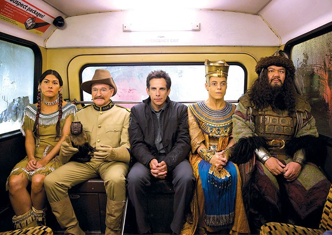 """In this image released by 20th Century Fox, from left, Mizuo Peck, Robin Williams, Ben Stiller, Rami Malek and Patrick Gallagher appear  in a scene from """"Night at the Museum: Secret of the Tomb."""" - AP PHOTO/20TH CENTURY FOX, KERRY BROWN"""