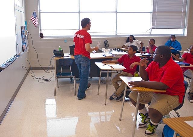 Jake Steel teaching 7th Grade Academic Achievment at John Marshall High School.  mh