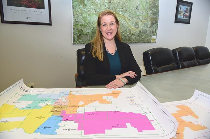 Jane Abraham, government affairs manager for City of OKC, with legislative district and city ward overlays.  mh