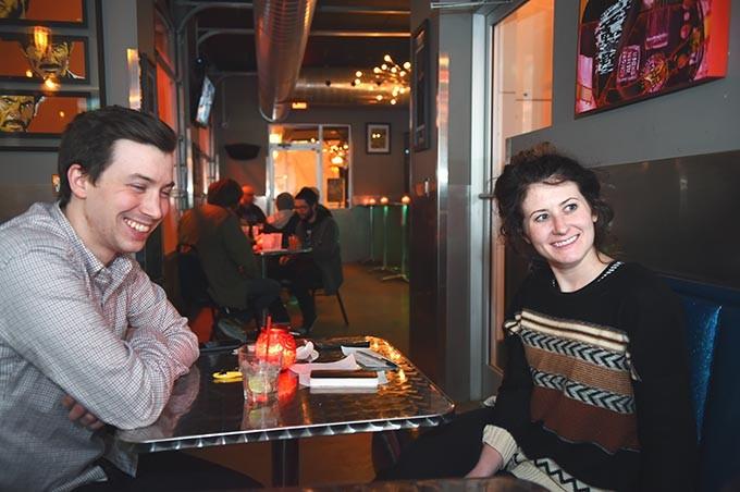 Jordan Cram and Olivia Reid drink at The Pump Bar. (Mark Hancock)