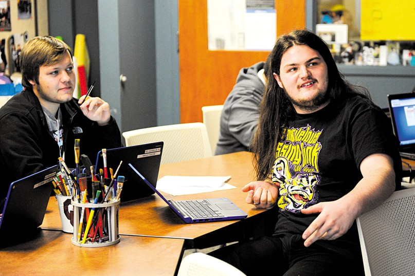 Ethan Beddo, left, and Zackery Nichols, in English class at Metro Career Academy in Oklahoma City, Friday, Dec. 11, 2015. - GARETT FISBECK