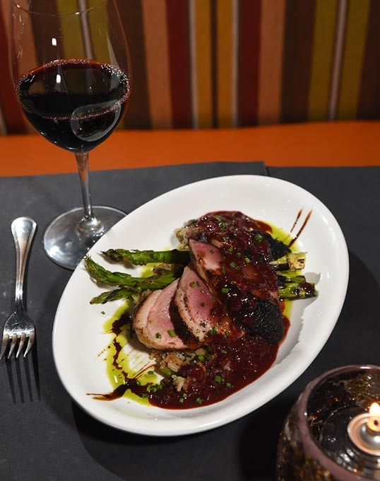 Pan Seared Duck Breast with Wine and Candle.  mh