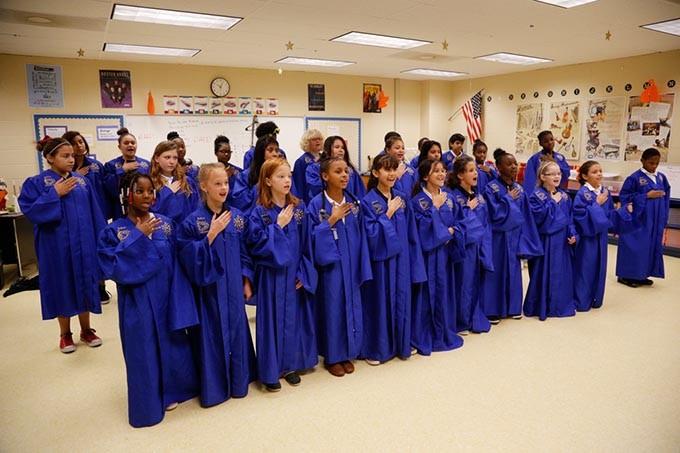The honor choir rehearses at Bodine Elementary in Oklahoma City, Friday, Nov. 6, 2015. - GARETT FISBECK