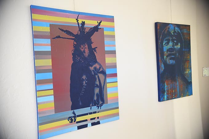 "2 works by Chicasaw artist Billy Hensley, left, ""Sacred"", next to ""Thorpe"", currently featured at Exhibit C native art gallery celebrating one year open in Bricktown.  mh"