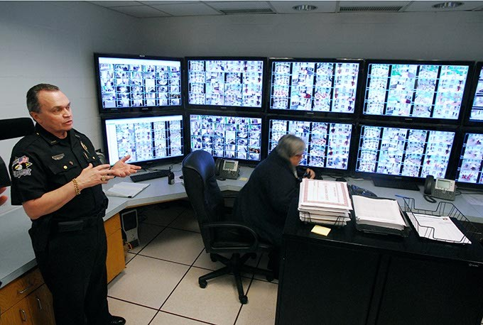 Oklahoma County Sheriff John Whetsel shows the new camera operations room featuring over 100 surveillance camera views, with 30 more being added soon, part of new County Jail improvements, shown on a media tour Thursday, 4-1-2010.  Mark Hancock