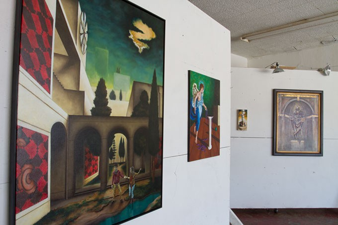 Artist Dayton W. Clark has multiple paintings for displayed at Dope Chapel a DIY community space located on 115 s crawford ave Norman, Oklahoma, tuesday, june 30, 2015. - KEATON DRAPER