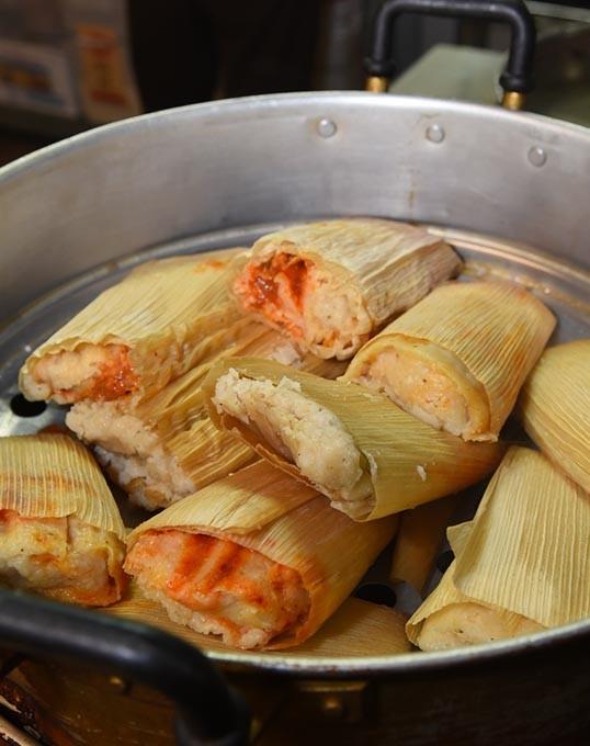 Just-steamed tamales, at Portland Shamrock.  mh