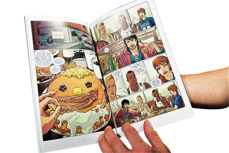 """Inside story panels of Brian Winkeler's graphic novel, """"Knuckleheads: Fist Contact."""" - PHOTO/MARK HANCOCK"""