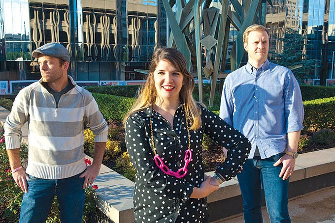 Among those Oklahoman's traveling to Kortrijk Belgium to attend the Creativity World Forum, from left, Kyle Roberts, Cayla Lewis, and Justin Briggs , photographed in downtown OKC.  mh