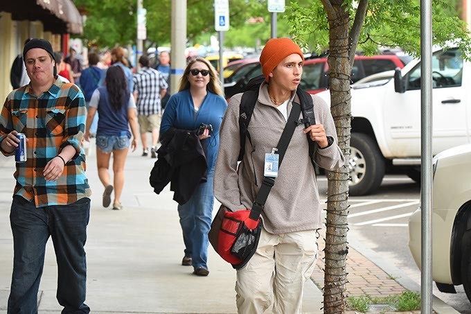 Lots of visitors and journalists on Main Street in Norman for the 2015 Norman Music Festival, 4-24-2015. - MARK HANCOCK