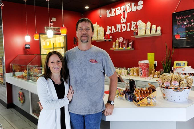 Stacey Mott and Ron Lynch pose for a photo at Kernels & Kandies in Oklahoma City, Friday, Oct. 30, 2015. - GARETT FISBECK