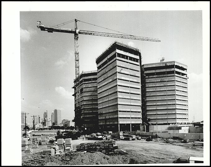 "In September 1990, Oklahoma County and city officials celebrated after the jail was ""topped out,"" meaning the building reached its greatest construction height. (Oklahoma Publishing Company Collection / Courtesy Oklahoma Historical Society)"