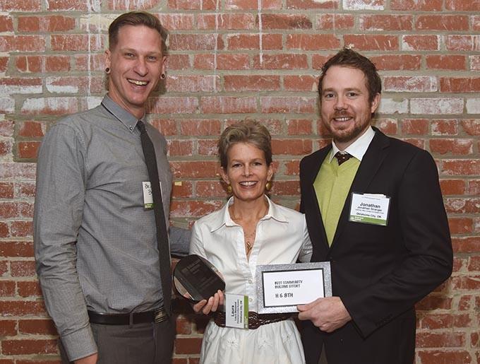 From left, Brian Bergman, Laura Massenat, and Jonathan Stranger. H & 8th were winners for the Best Community Building Effort. - MARK HANCOCK