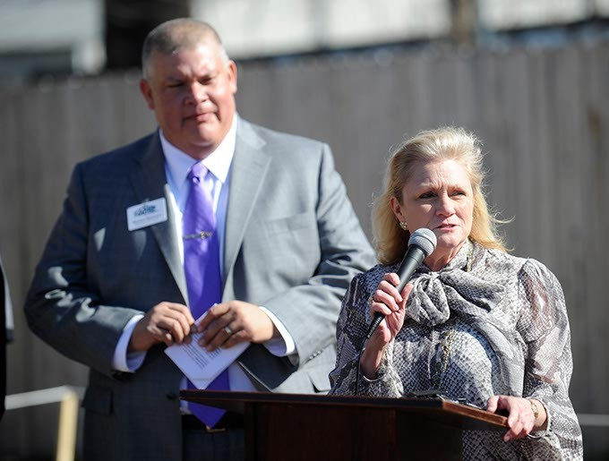 Councilwoman Meg Salyer speaks during a groundbreaking ceremony at the Jesus House in Oklahoma City, Friday, Feb. 13, 2015. - GARETT FISBECK