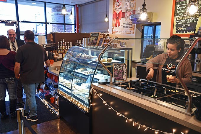 Perk Place Cafe during one of their recent free coffee mornings, 7 to 8 a.m.  mh