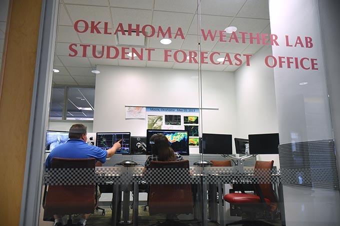 Oklahoma Weather Lab Student Forecast Office, inside OU's National Weather Center in Norman.  mh