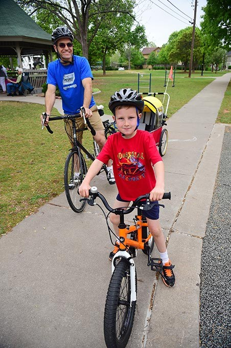 Tom Perymam with his son Charlie at Perle Mesta Park where Kidical Mass riders get together, Saturday, 4-18-15.  mh