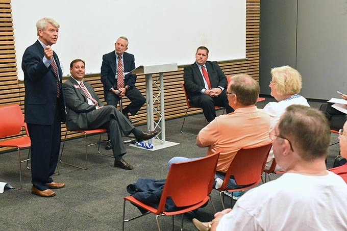 House District 85 candidate, from left, Ralph Crawford, Chip Carter, moderator Charlie Potts and Matt Jackson, (Amy Palumbo didn't participate) during a forum with other candidates held at the Northwest Library on July 22.  mh
