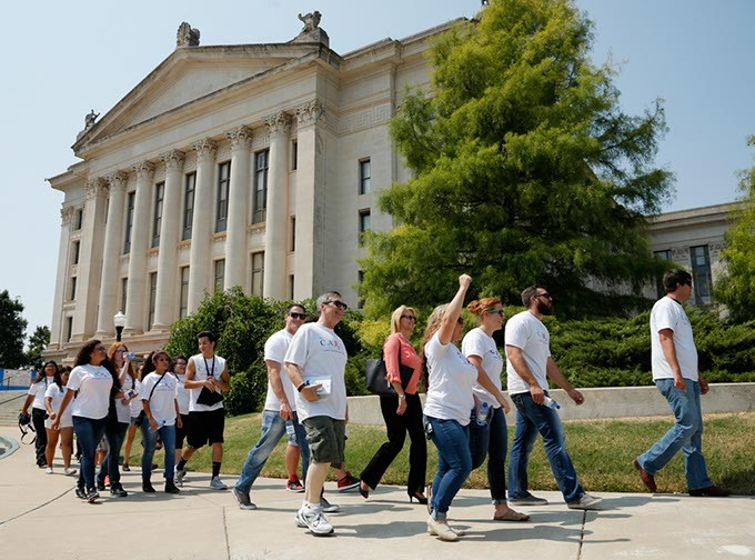 A walk during an International Overdose Awareness Day rally at the Oklahoma State Capitol in Oklahoma City, Monday, Aug. 31, 2015. - GARETT FISBECK