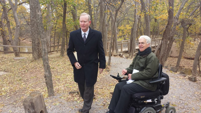 Mayor Mick Cornett and Jack McHanan or Wilderness Matters were on hand to celebrate the start of construction on the Courage Trail at Martin Park Nature Center. - BEN FELDER