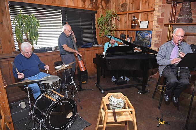 The Silvertops perform Saturday, 10-17-15, at Ingrid's Kitchen, from left, Sid Goodwin, Dave Soukup, Gary Johnson, and Jerry Smith. - MARK HANCOCK