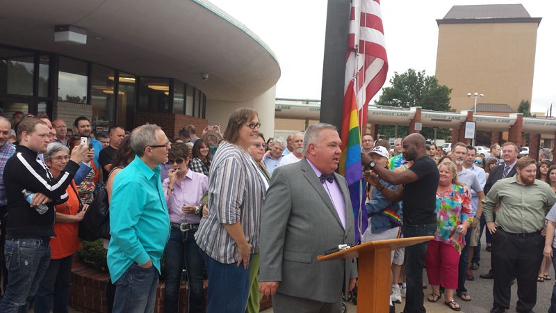Scott Hamilton, executive director of the Cimarron Alliance, spoke at a rally celebrating a court ruling in favor of same-sex marriage in Oklahoma. - BEN FELDER
