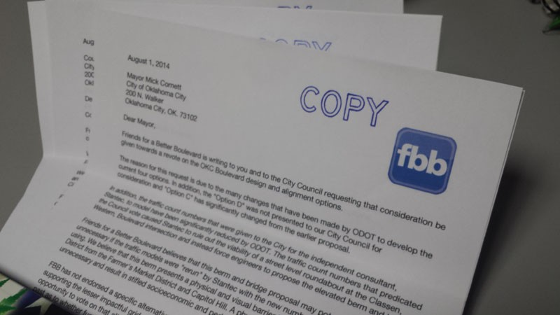Friends for a Better Boulevard send letters to the Oklahoma City council and mayor requesting the city take another look at a proposed downtown boulevard project. - BEN FELDER