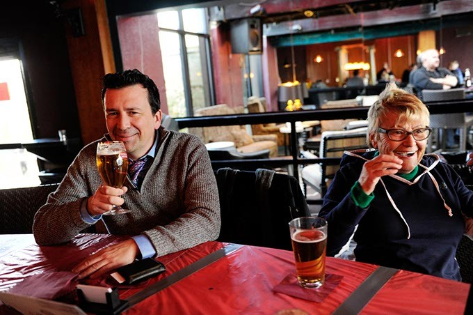 Burl Beasley and his mother, Helga, enjoy happy hour drinks at Apothecary Thirty-Nine in Oklahoma City, Tuesday, Feb. 24, 2015. - GARETT FISBECK