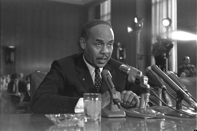Ralph Ellison, New York author, is a witness, August 30, 1966, at a Senate Subcommittee hearing in Washington during continuing hearings on the racial problems in big cities. - AP PHOTO