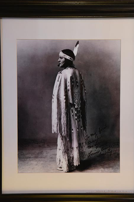 The original Kiowa Five included this woman, Lowis Somoky, who steped out and was replaced by James Auchiah.  Officials now refer to the group as the Kiowa Six, puting Somoky back into the group.  Historic photo, 2-8-16, hanging in the office at the Jacobson House, 609 Chautauqua Avenue, Norman Oklahoma. - MARK HANCOCK