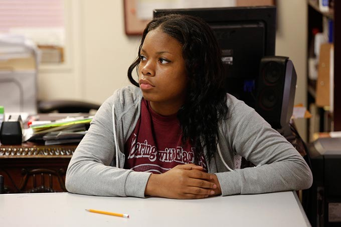 Diamond Alexander sits in a class at Seeworth Academy in Oklahoma City, Friday, April 24, 2015. - GARETT FISBECK