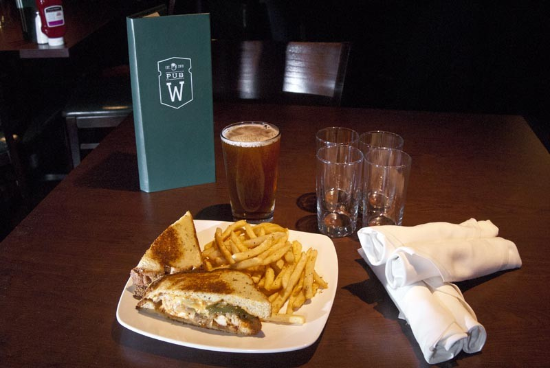 Chupacabra sandwich with Red Republic beer at Pub W. (Mark Hancock)