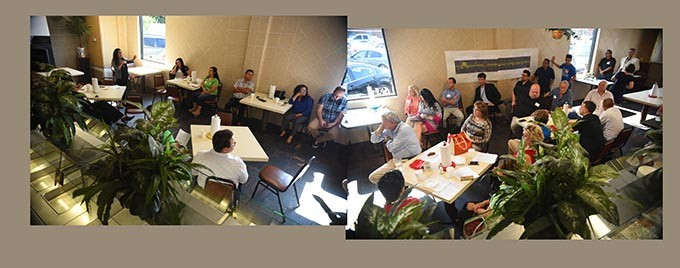 Two photographic frames create a panoramic view of the 29th Steet Business Improvement District meeting inside Berta's Mexican Buffet, 635 S.W. 29th Street, Tuesday, 6-30-15.  mh