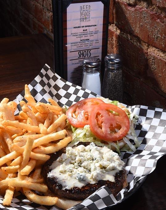 Blackened Bleu Cheese Burger at Deep Deuce Grill, in Deep Deuce, Oklahoma City, 2-3-16. - MARK HANCOCK