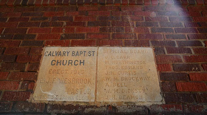 Cornerstone on the Calvary Baptist Church in Deep Deuce, home of Dan Davis Law Firm.  mh